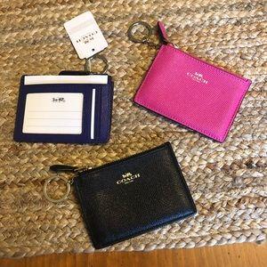 Coach ID/credit card key chain holder leather